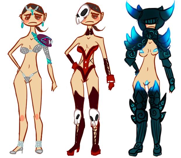 Ilustrações de armaduras femininas típicas de MMORPG, pelo tumblr Repair her armor